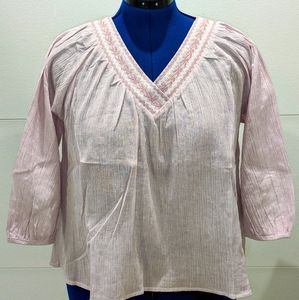 Esley Pink Boho Embroidered Blouse